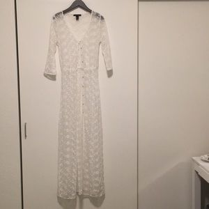 F21 White Lace long button down duster small